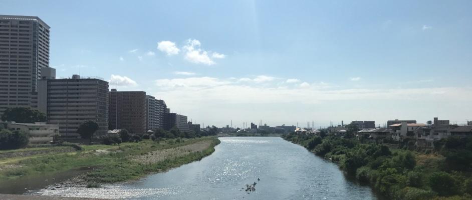 宝塚大橋から南に向いて武庫川と両岸を含めた風景