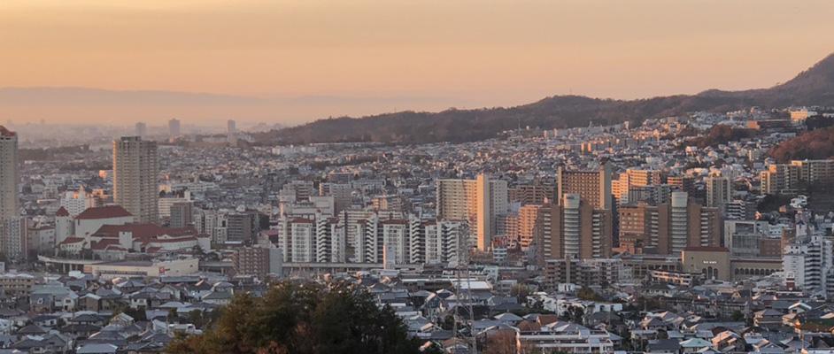 夜明けごろの宝塚市を見下ろす視点で、宝塚歌劇場や阪急宝塚駅が見える風景