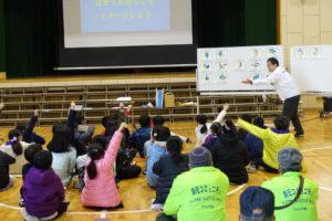大阪ガスの人の質問に答えようとして、たくさんの生徒が手を挙げています