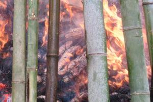 燃えているやぐらのなかで火に包まれるさつまいもが大きく写っています