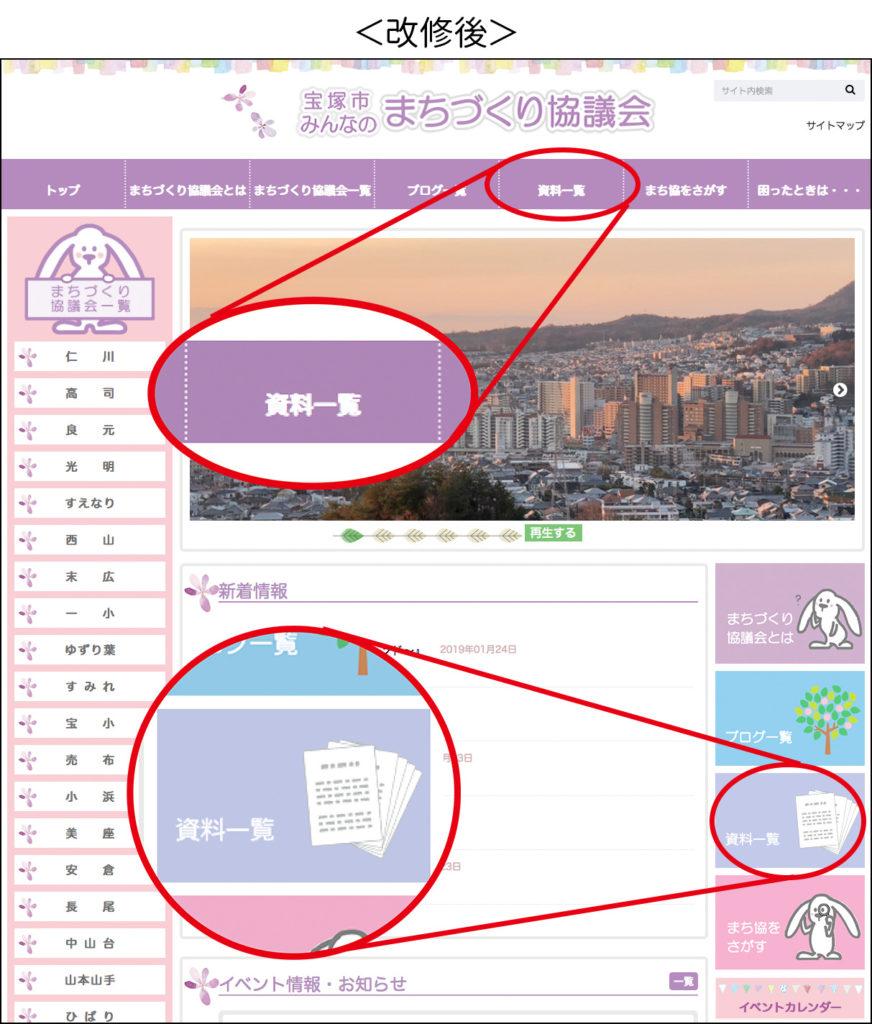 改修後のメイン画面に追加された2つのナビゲーション「資料一覧」のボタン部分を赤丸で囲み、判別しやすいようにその部分だけ拡大表示されている