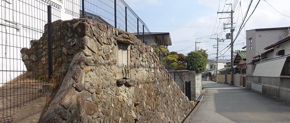 コミュニティ安倉の地域にある安倉高塚古墳とその前の道路・まちなみ