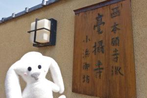 メイン会場となる西本願寺派毫摂寺にやってきました。門の横のお寺の名前が書かれた看板の前にまちキョンが立っています