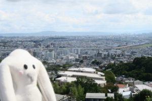 見晴らしの良い高台から遠くの方まで見える街と、その奥には大きな山も見える。左下にはまちキョンが写っている