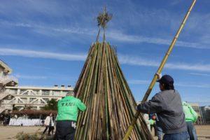 コミュニティのみなさんが竹を組んでやぐらを作っています。