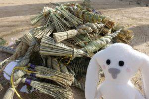 地域の方がたが持って来られたしめ縄がたくさん積みあがっています。それをまちキョンがみています。