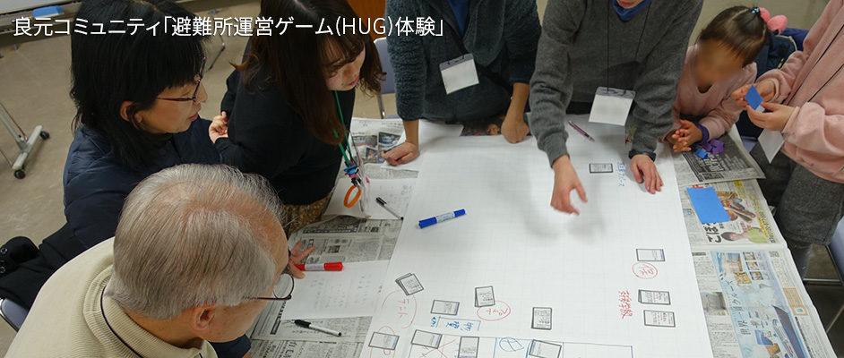 良元コミュニティで行われた避難所運営ゲーム(HUG)体験の様子。テーブルの周りに7人の参加者がおり、テーブルの上に小学校の体育館と校庭を表した大きな図がある。その上に避難所で起きた出来事を書いたカードを置いていっている。カードは対応に合わせた場所に置かれている。