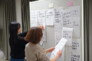 白い有孔ボードに、2人の女性がA4ぐらいの大きさの白い紙を貼り出しています。グループ分けしながら貼っているようです。