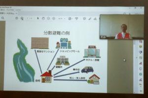 防災キャンプ2020(オンライン開催)図などを共有してオンラインで詳しく説明しています。
